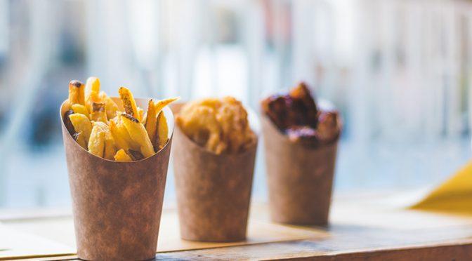 new product kraft chip scoop vegware compostable packaging