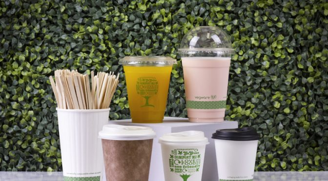Vegware open windrow garden waste composting compostable cups coffee drinks